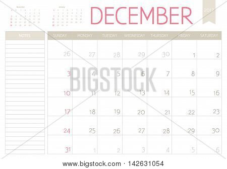 Vector Business Planning Calendar Of December 2017 With A Place For Notes. Weeks Start On Sunday