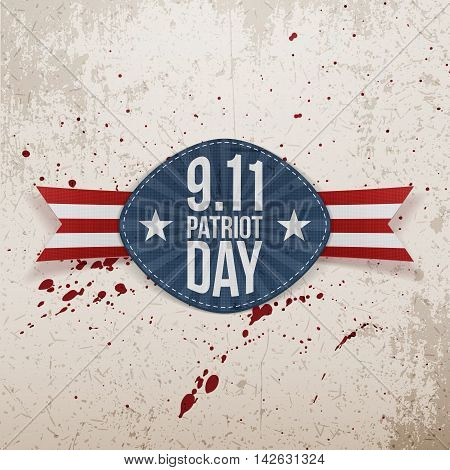 11th September - Patriot Day Tag with Ribbon. Vector Illustration