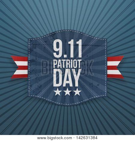 Eleventh September Patriot Day national Badge. Vector Illustration