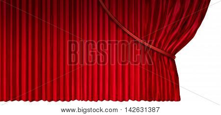 Curtain reveal as cinema or theater drapes with red velvet material opened on the side as a design element for a presentation or anouncement isolated on a white background as a 3D illustration.