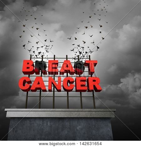 Beat cancer awareness concept and freedom from a malignant breast tumor medical symbol as text on a sign tranforming into flying birds as a medicine cure and research treatment success symbol with 3D illustration elements.