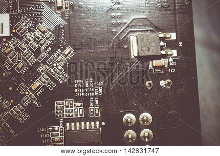 Black Circuit Board Macro
