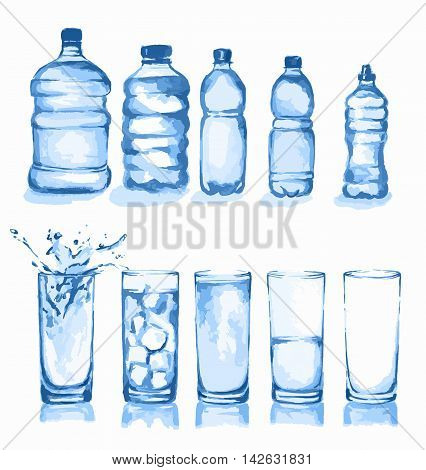 Watercolor glasses set. Glasses of water. Empty glass, half full, full, with ice cubes and splash. Different types of water bottles.