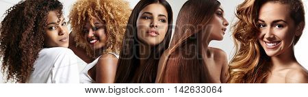 image about different types of women's hair. multiculture.