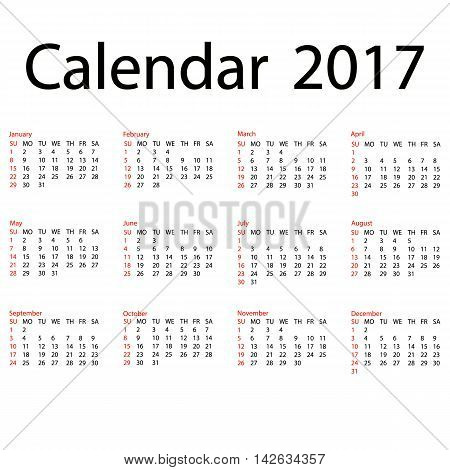 2017 calendar template. First day Sunday. Illustration in vector