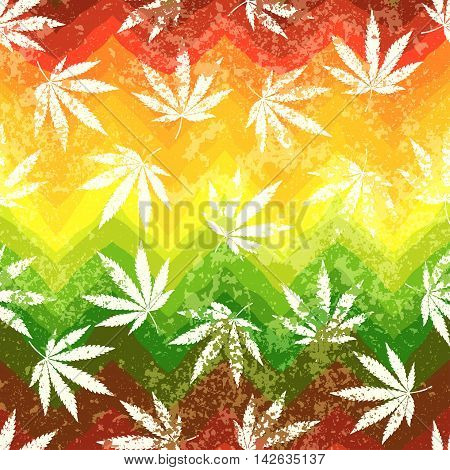 Seamless background pattern. Rastafarian colors pattern and grunge hemp leaves.