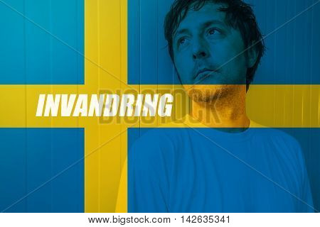 Immigrate to Sweden concept Invandring meaning Immigration in Swedish with man looking for salvation in Scandinavian country
