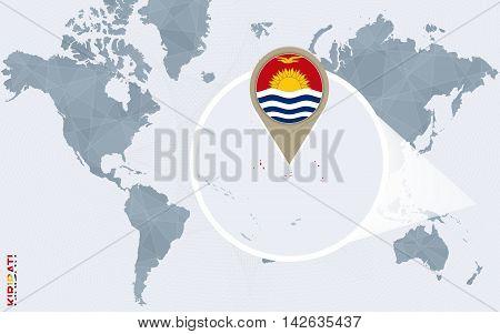 Abstract Blue World Map With Magnified Kiribati.