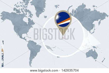 Abstract Blue World Map With Magnified Marshall Islands.