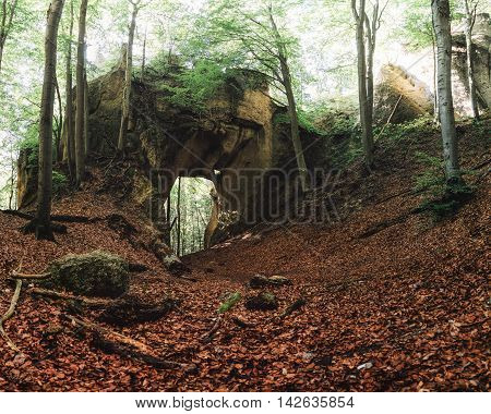 Rock Gate in Sulov Rocks (Sulovske Skaly) National Nature Reserve near Zilina Slovakia