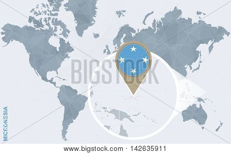 Abstract Blue World Map With Magnified Micronesia.