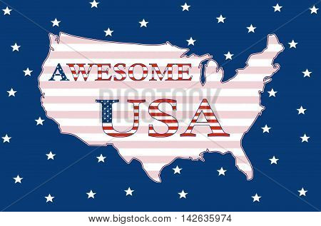 Awesome USA, Stars And Stripes Poster 03a