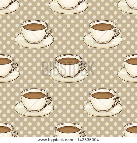 Cup of coffee or black tea with saucer. Vector hand drawn illustration. Tileable spotted seamless pattern