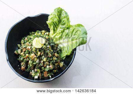 tabouleh traditional lebanese middle eastern fresh salad bowl meze mezze starter