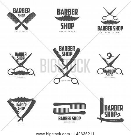 Set of vintage barber shop logos, labels, badges and design elements, vector illustration isolated on white background. Combs, moustache and scissors logos for barbershops, beauty salons, hairdressers