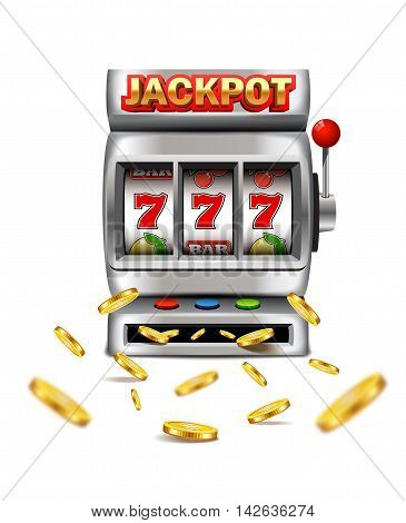 Slot machine with lucky seven and flying golden coins isolated on a white background.
