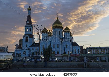 Chita RU - Jul 172014: Cathedral of Our Lady of Kazan in sunrise. The main church of city in Vladimir-Suzdal architectural style