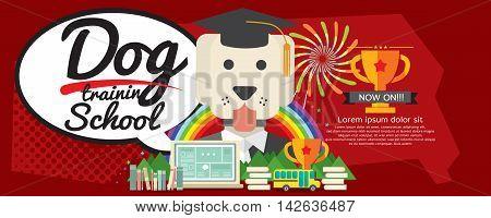 Dog Training School Super Wide Banner Vector Illustration