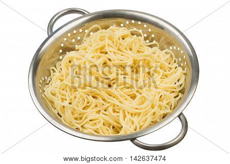 the pasta in a colander cooked, on a white background
