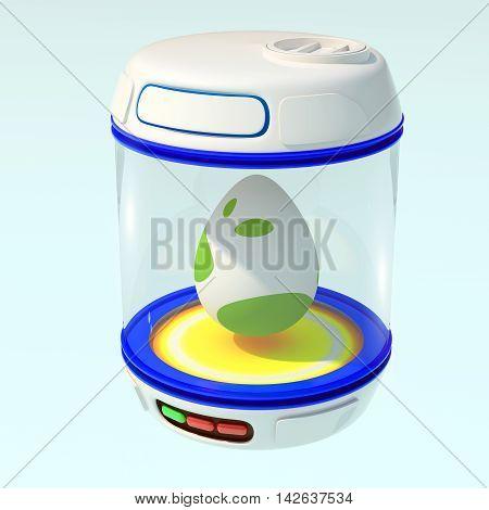 Egg in blue closed bank. 3d render