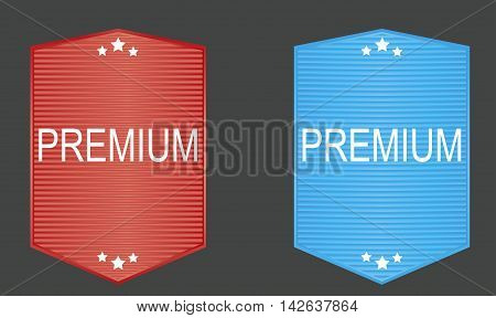 Premium seal or label inred and blue tones