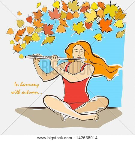 Autumn illustration of a serene woman sitting in easy pleasant sukhasana pose and playing flute with flying leaves. Asana for meditation. Vector colored illustration