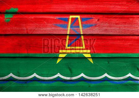 Flag Of Dubossary, Moldova, Painted On Old Wood Plank Background