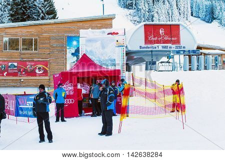 Bansko, Bulgaria - December 12, 2015: Bansko Banderitza ski lift at Banderishka polyana, people