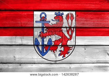 Flag Of Dusseldorf, Germany, Painted On Old Wood Plank Background