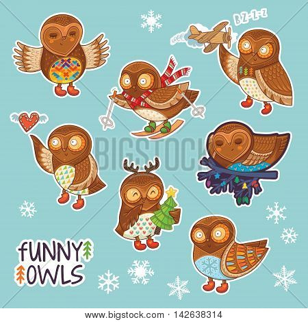 Set of stickers with funny cartoon owls. Flying owl, Sleeping owl, Christmas owl, owl on skis, owl with a toy, owl with tree