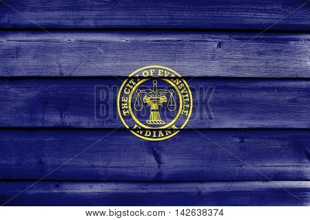 Flag Of Evansville, Indiana, Usa, Painted On Old Wood Plank Background