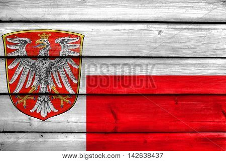 Flag Of Frankfurt Am Main, Germany, Painted On Old Wood Plank Background