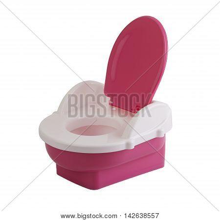 Opened plastic baby toilet bowl isolated on white background