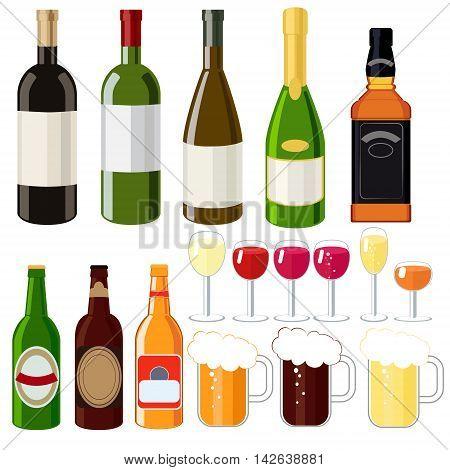 Alcohol set wine beer whiskey beer mugs shot glasses champagne