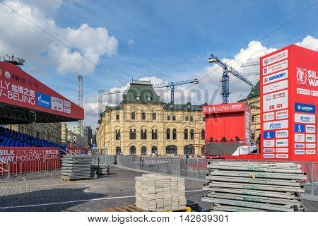 Moscow, Russia - July 07, 2016: Construction of stage and amphitheater for ceremony of meeting participants of the rally