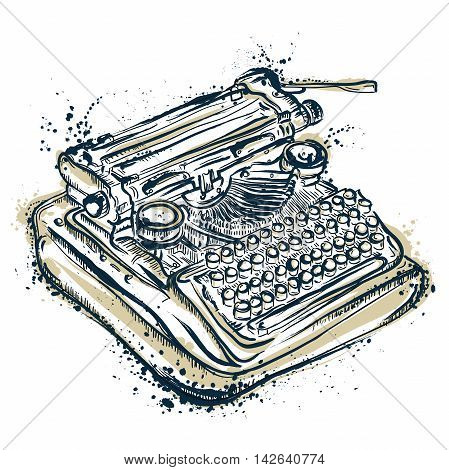 Vintage typewriter with ink splashes. Hand drawn vector illustration