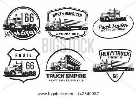Set of classic heavy truck logo emblems and badges. Truck with trailer and tip truck. Vector illustration.