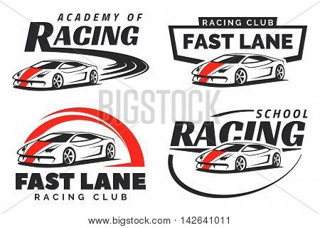 Set of sport car racing logo emblems and badges isolated on white background. Racing school or academy design elements.