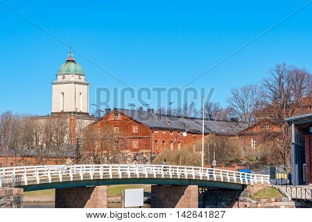 Artillery Bridge and Church at the maritime fortress on Suomenlinna Island. Helsinki Finland Scandinavia Europe