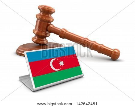 3d Illustration. 3d wooden mallet and Azerbaijan flag. Image with clipping path