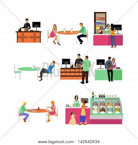 Vector set of restaurant employees and visitors. People in cafe icons isolated on white background.