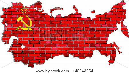 Soviet Union map on a brick wall - Illustration,   USSR map with flag inside,  Grunge map and Soviet Union flag on a brick wall