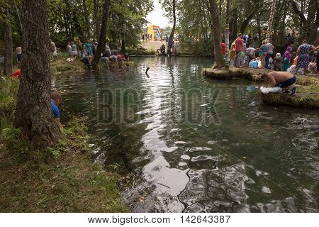 Slavgorod, Belarus - August 14: The Blue Krynica. Mass Pilgrimage For Healing To Honey Spas August 1