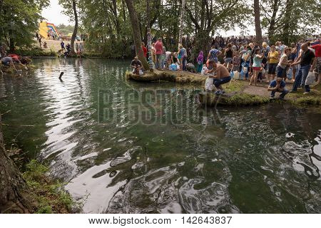 Slavgorod, Belarus - August 14: The Blue Krynica. Mass Pilgrimage For Healing To Honey Spas. People