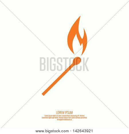 Burning match. Fire flames. Icon. vector logo design template