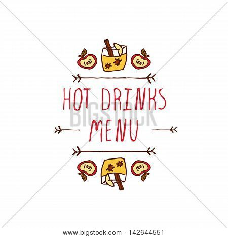 Hand-sketched typographic element with apple, apple cider and text on white background. Hot drinks menu