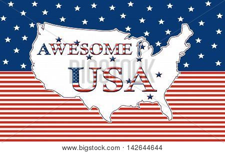 Awesome USA, Stars And Stripes Poster 09a