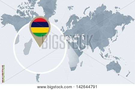Abstract Blue World Map With Magnified Mauritius.