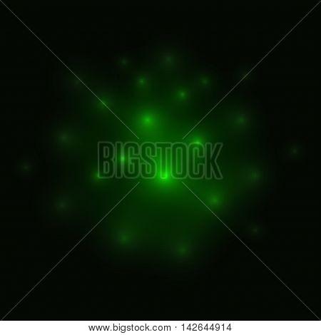 Fireflies Green Background