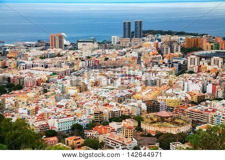 aerial view of the capital of island - Santa Cruz de Tenerife Canary Islands Spain